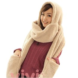 Wholesale Wholesale Gloves Hats - Wholesale-Winter Warm Women's Solid Hoodie Gloves Pocket Earflap Hats & Glove Sets Long Scarf Shawl Snood Wraps Outdoor High Quality