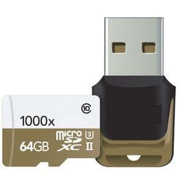 Wholesale China Tablets 32gb - 2016 China 32GB 64GB 128GB microSDXC UHS-II 1000X High-Performance U3 Memory Card & USB 3.0 Reader 2-Pack 150MB s for tablet PC goodmemory