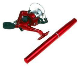 Bolsillo del polo online-Alta calidad 6 colores mini aluminio bolsillo mar pluma cañas de pescar poste + carrete envío gratis