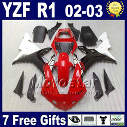 Wholesale Yamaha R1 Body - Hot sale Fairings for 2002 2003 YAMAHA R1 Injection molding red whtie body kits YZF1000 02 03 yzf r1 fairing kit parts set 4RR6 + 7 gifts