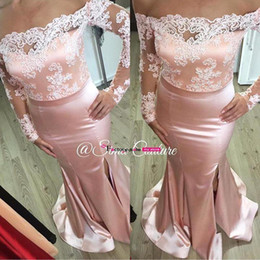 Wholesale light pink bridesmaids dresses lace top - 2016 Bridesmaid Dress Sexy Off The Shoulder Long Sleeves Formal Evening Dresses Lace Top Split Mermaid Satin Floor Length Prom Dresses