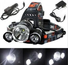 Wholesale Linterna Flashlight - Linterna frontal LED Headlamp 5000 Lumens Head lamp T6 3 LED Headlight head torch edc flashlight 18650 Rechargeable battery pack