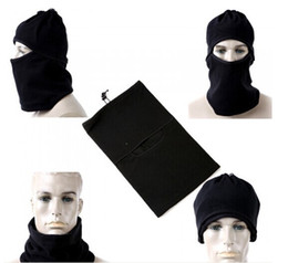 Wholesale Motorcycle Face Covering Mask - 3pcs Motorcycle Thermal Fleece Balaclava Neck Winter Ski Full Face Mask Cover Hat Cap for outdoor sports camping hiking climbing cycling