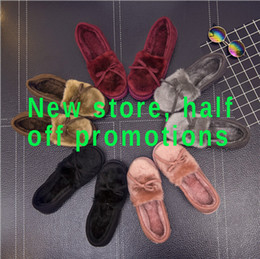 Wholesale Women Moccasin Boots - 171108003 2017 Fashion Women winter warm bow-tie Anti skid boots shoes with thick soles home indoor Slipper Flats Female Casual Slip