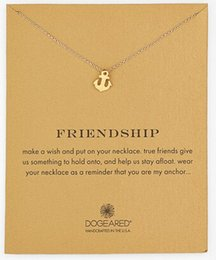 Wholesale Gold Anchor Necklaces For Women - Wholesale-Dogeared Sparkling Anchor gold Pendant necklace Anchor golden 18k Statement Necklace For Women Jewelry(Has Infinite Love card)