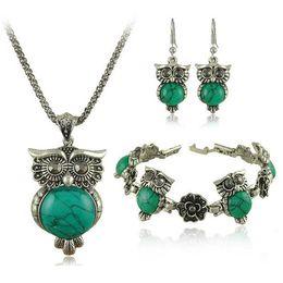 Wholesale Tibetan Necklace China - New Brand Design Owl Jewelry Set Tibetan Vintage Silver Retro Turquoise Stone Pendant Necklace Cute-drop Earring Charm Bracelet Sets-S0011
