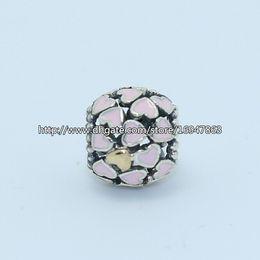 Wholesale Pandora S925 - 100% S925 Sterling Silver & 14K Abundance of Love Charm Bead with Pink Enamel Fits European Pandora Jewelry Bracelets Necklaces & Pendant