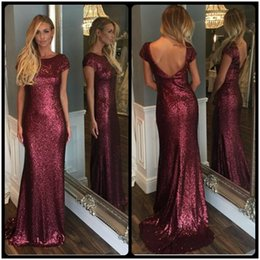 Wholesale Nude Sequin Scoop Back Dress - Burgundy Long Sequin Mermaid Evening Dress 2016 Elegant Sexy Backless With Cap Sleeve Plus Size Cheap Formal Party Dresses Prom Gown