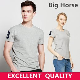 Wholesale Fitted T S - Summer New Fashion Brand Clothing Tshirt Men Big Horse Embroidery Solid Color Slim Fit Short Sleeve T Shirt Men 100% Cotton Casual T-Shirts