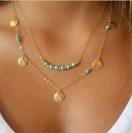 Wholesale Copper Turquoise Pendants - Simple Style Gold & Silver Plated Necklaces Multi Layered Chains Turquoise Beads Sequins Pendant Necklace Fine Jewelry K009