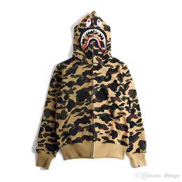 Wholesale Wild Hips - New Japanese Teenager Hip Hop Shark Head Yellow Green Camo Fight Hooded Jacket Men Women Wild Cardigan Hoodie Jacket