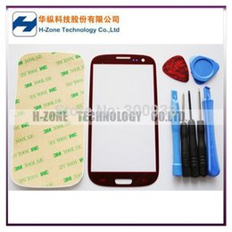 Wholesale Replacement Glass Galaxy S3 Red - Wholesale-Free shipping touch Screen Red Front Outer Lens Glass cover Replacement glass with Tools Adhesive For Samsung Galaxy S3 i9300