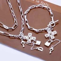 Wholesale Platinum Rings Sale - new sale 925 sterling silver jewelry sets LS-24.free shipping 925 silver neckace bracelet ring set.support Wholesale,retail,mix order