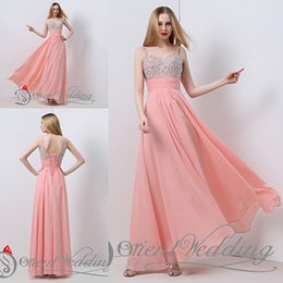 Wholesale Watermelon Evening - Fashion In Stock Watermelon US2-US16 Real Picture Sweetheart Beaded Crystal Sequin A-line Long Evening Party Gown Prom Dresses