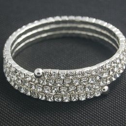 Wholesale Stretchy Bling Bracelets - Wholesale-Free Shipping NEW Woman Fashion Silver Stretchy Rhinestone Bling Bling Bangle Bracelet