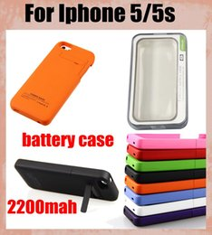 Wholesale Iphone 5s External Battery Charger - External backup battery charger case for iphone 5 5s, backup battery 2200mAh portable power bank 2200mah rechargeable battery case BAC015