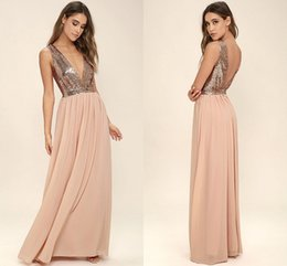 Wholesale Chiffon Pink Rose Gown - Country Style Rose Gold Sequined Long Bridesmaid Dresses 2018 New Deep V Neck A Line Chiffon Floor Length Maid of Honor Gowns for Weddings