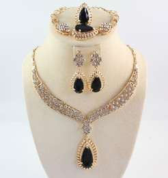Wholesale Crystal Jewelry Sets Black - Africa Jewelry Sets Full Crystal Black Gem Necklaces Bracelets Earrings Rings Bridal And Bridesmaid Wedding Party Set