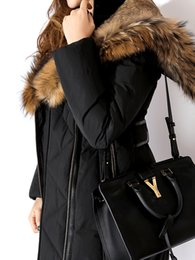 Wholesale Army Fur Collar - Women Long Down Jackets with real raccoon fur collar hood lined with rabbit fur Ms coats