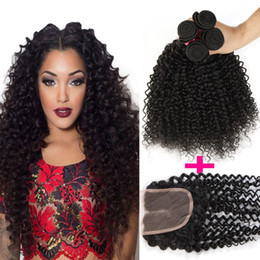 "Wholesale Brazilian Lace Full Head Closure - Brazilian Curly Human Hair Weft 3 Bundles And 1 Top Lace Closure(4""x4"") Curly For a Full Head Brazilian Peruvian Malaysian Indian Curly Hair"