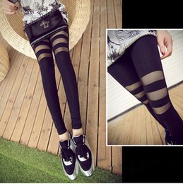 Wholesale Cut Out Black Leggings - Yoga Leggings Black Lace Womens Skinny Pants Cut Out Sheer Lace Pants Free Shipping