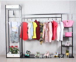 Wholesale Wrought Iron Clothing Display Racks - High-end clothing store display racks, wrought iron shoe bag landed in the island shelf clothing store for men and women