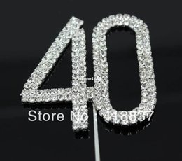 "Wholesale Diamante Cake Toppers - Free Shipping Letter ""40"" Double Rows Rhinestone Diamante Monogram Cake Toppers For Wedding Decoration 1pcs"
