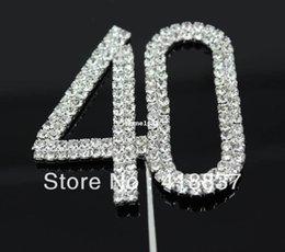 "Wholesale Wedding Cake Toppers Diamante Monogram - Free Shipping Letter ""40"" Double Rows Rhinestone Diamante Monogram Cake Toppers For Wedding Decoration 1pcs"