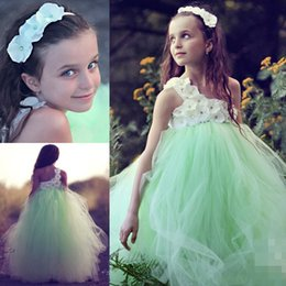 Wholesale Tulle Appliques Beads Handmade Flowers - 2015 Girls Prom Dresses Beautiful A Line Vintage Mint One Shoulder Flower Girl Dresses with Handmade Flowers Floor Length Tulle Girls Dress