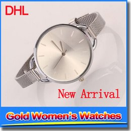 Wholesale Cheap Watches Silver Women - Brand New Ladies Watches Fashion Cheap Gold Straps Elegant Exquisite Bracelet Fashion Watches For Women Girls Crystal Wristwatch
