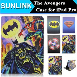 Wholesale Captain America Ipad Cover - Batman Spiderman Captain America The Avengers Case Cute Cartoon Kitty Cat Winnie the Pooh Back Cover Folio Stand Case for iPad Pro 12.9 Inch