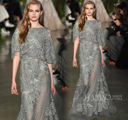 Wholesale Jacket Grey Sheath - Elie Saab 2016 Formal Evening Dresses Grey Blue Long Lace Gorgeous Prom Dresses Ball Gowns With A Line Crew Neck Half Long Sleeves Celebrity