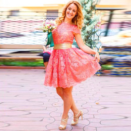Wholesale Short Hollywood Dresses - Vintage Hollywood 1950s Style Lace Short Evening Dresses Pink Party Prom Gowns 2015 Vestido De Gala Free Shipping
