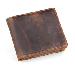 Wholesale Men Clips - Men Genuine Leather Retro Short Bifold Wallet Cowhide Coin Purse Card Holder Money Clips Slim Vintage Design Purse