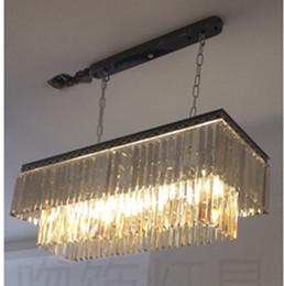 Lustres de cristal cinza on-line-Bar da cozinha levou pendurado lustre de cristal lâmpada L60cm / L85cm rectanglar sala de jantar preto cinza lustres de cristal levou lâmpadas pingente