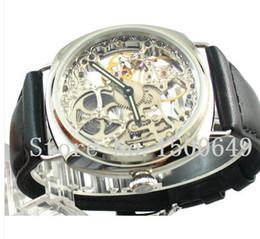 Wholesale Jewel Watch Fashion - Luxury Watches Fashion watch 45mm hand winding 6497 mens Watch 17 jewels mechanical Full Skeleton Men's Wristwatches
