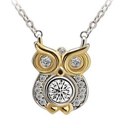 Wholesale Never Ending Story - Bird of Wisdom 925 Sterling Silver Owl Animal Charm Pendant Necklace with Crystal Diamond A Love Story That Never Ends
