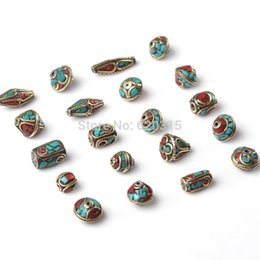 Wholesale Tibet Silver Bead Caps - Wholesale-20pc lot Free Shipping fashion diy tibet silver Nepal Beads Turquoise Red Coral metal Inlay Copper Tibetan Charms beads