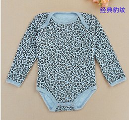 Wholesale Long Sleeve Bodysuit 12 Months - Wholesale-free shipping Baby Girls cotton long sleeve triangle climbing leopard flower bodysuit clothing baby jumpsuit