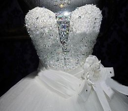 Wholesale Swarovski Beaded Wedding Dresses - New Wedding Dress Bridal Gown With Ball Gown SWAROVSKI Luxury Crystals Sweep Train Beaded White Or Ivory Lace UP