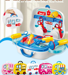 Wholesale Doctor Play Set Toys - 5 Types pretend Play Children simulation kitchen cooking tableware dressing Makeup suitcase doctor Kids Plastic toy set