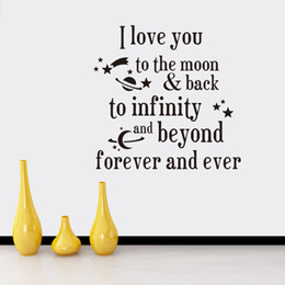 Wholesale Moon Wall Decal Bedroom - I love you to the moon and back Quotes Wall Stickers Decal Words Lettering Saying Wall Decor Sticker Vinyl Wall Art Stickers Decals