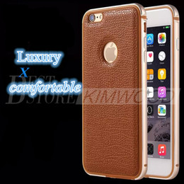 Wholesale Original Bumper - Phone Case For iPhone 6 6 Plus Original Metal Soft TPU One-piece Forming Frames and Leather Back Cover Bumper Shell iPhone Cases