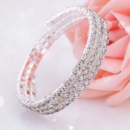 Wholesale Drop Crystals - Fashion Crystal Bridal Bracelet Cheap In Stock Rhinestone Free Shipping Wedding Accessories One Piece Silver Factory Sale Bridal Jewelry