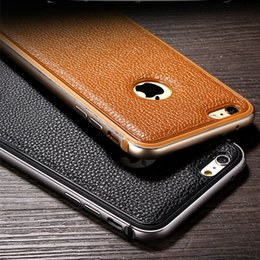 Wholesale Iphone Pieces Bumper - Phone Case For iPhone 6 6S 6Plus Original Metal Soft TPU One-piece Forming Frames and Leather Back Cover Bumper Shell iPhone Cases