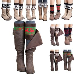 Wholesale Girls Legging Shorts - Women Winter Knitted Leg Warmer Socks Christmas Elk Deer Boot Cover Cuffs Gaiters Short Socks 20 Styles OOA3623