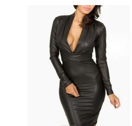 Wholesale Clubwear Dresses Leather - Party Dress Black Red dresses for womens Plunging V-neck Long-sleeve Leather Bodycon Dress sexy women party clubwear