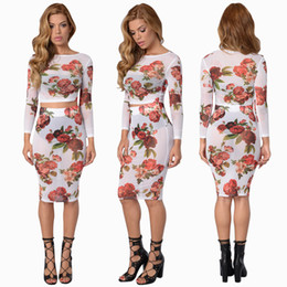 Wholesale Floral Bodycon Midi Dress - Winter Women's Sexy Floral Bodycon Two Piece Dress White Mesh Flowers Printed O Neck Long Sleeve Party Cocktail Club Sheer Midi Dress