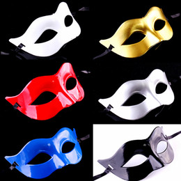Wholesale Masquerade Halloween Costume - Halloween Venetian Color Men Mask Half Face PVC Classic Cosplay Party Decorative Mask Masquerade Dancing Costume Accessories 20pcs lot SD324