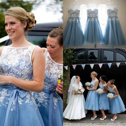 Wholesale Women Ruffled Tank - 2015 New Scoop Neckline Tank Mid Calf A Line Tea Length Bridesmaid Dresses With Lace Appliques Light Blue Women Short Party Prom Dress